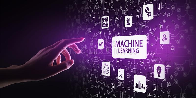 Machine Deep learning algorithms, Artificial intelligence, AI, Automation and modern technology in business as concept. vector illustration