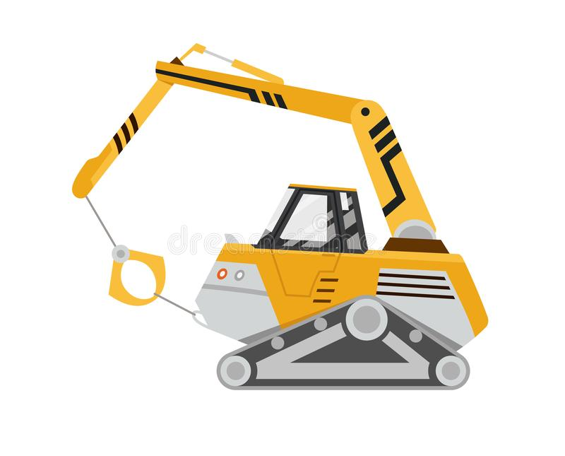 Machine for the destruction of buildings. Yellow excavator. Isolated on white background. Special equipment. Construction machinery. Vector illustration vector illustration
