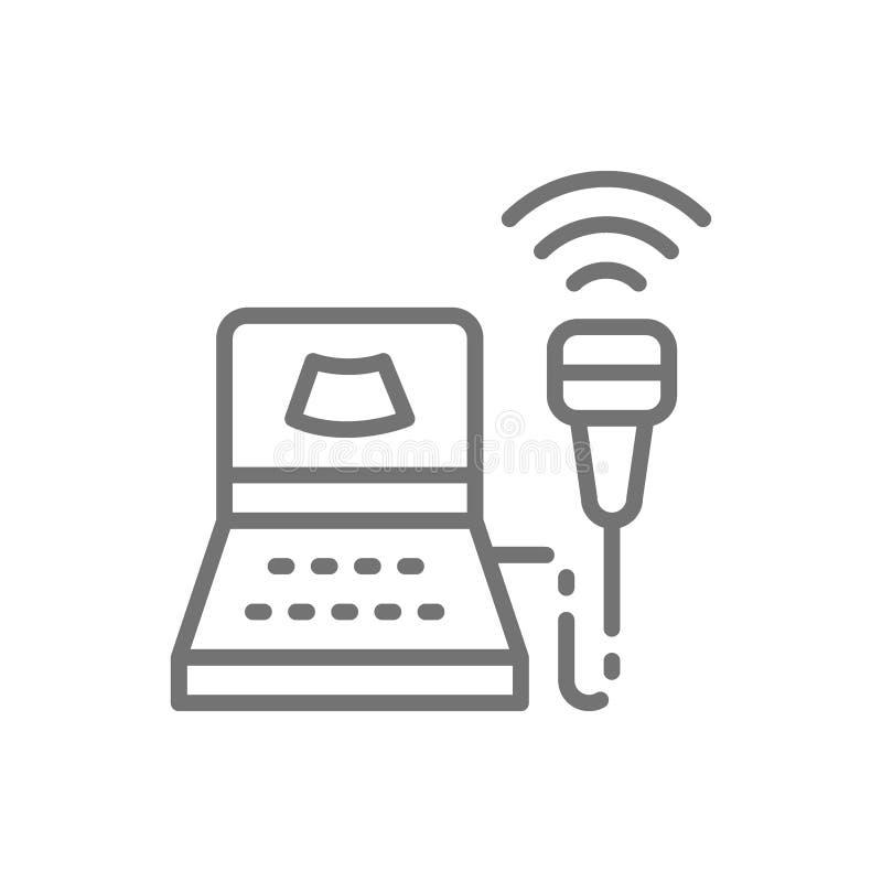 Machine diagnostique d'ultrason, recherche médicale, ligne icône de clinique de gynécologie illustration stock