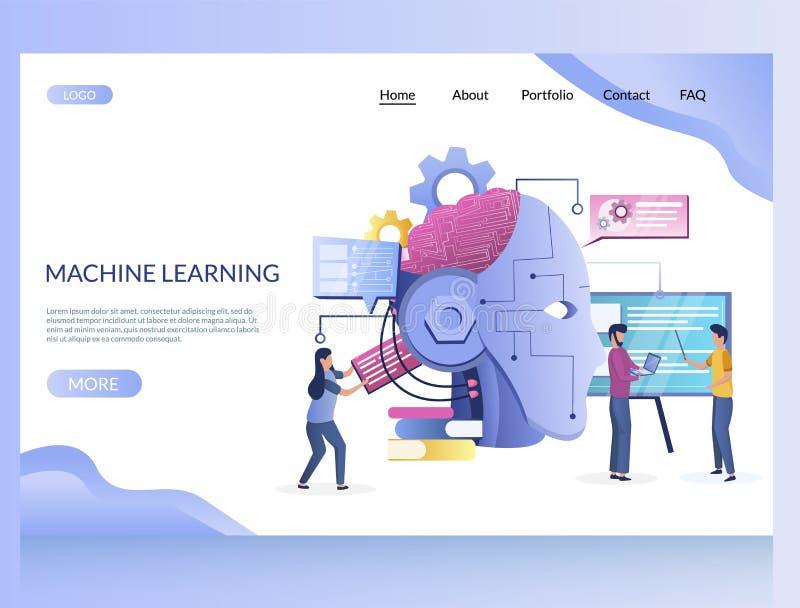 Machine die de vectorontwerpsjabloon van het websitelandingspagina leren stock illustratie