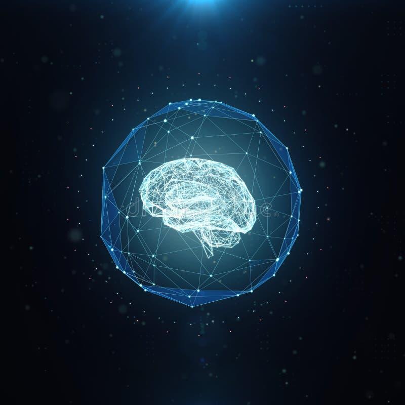 Machine die, kunstmatige intelligentie, ai, diep het leren blockchain neuraal netwerkconcept leren Hersenen worden gemaakt die me stock illustratie