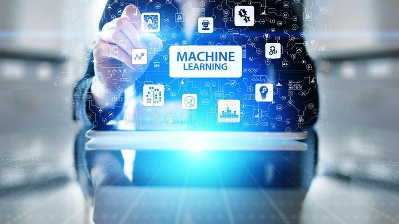 Machine Diepe het leren algoritmen, Kunstmatige intelligentie AI, Automatisering en moderne technologie in zaken als concept stock afbeelding