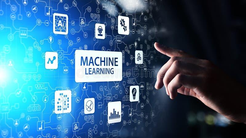 Machine Diepe het leren algoritmen, Kunstmatige intelligentie AI, Automatisering en moderne technologie in zaken als concept royalty-vrije stock afbeelding