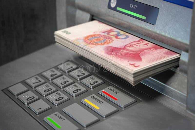 Machine et yuans d'atmosphère Retrait de 100 billets de banque de yuans Concept d'op?rations bancaires illustration de vecteur