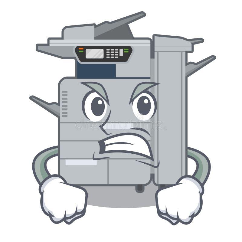 Machine f?ch?e de copieur au-dessus de la table en bois de mascotte illustration stock