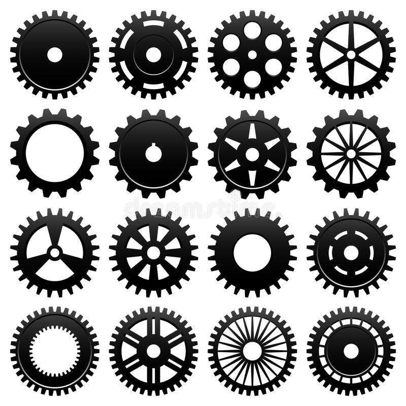 Machine Gear Wheel Cogwheel Vector. 16 specially designed cogwheel for machinery usage vector illustration