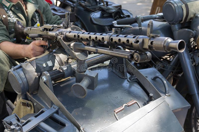 Machine gun of the German Army Wehrmacht MG-34 mounted on a motorcycle royalty free stock photo