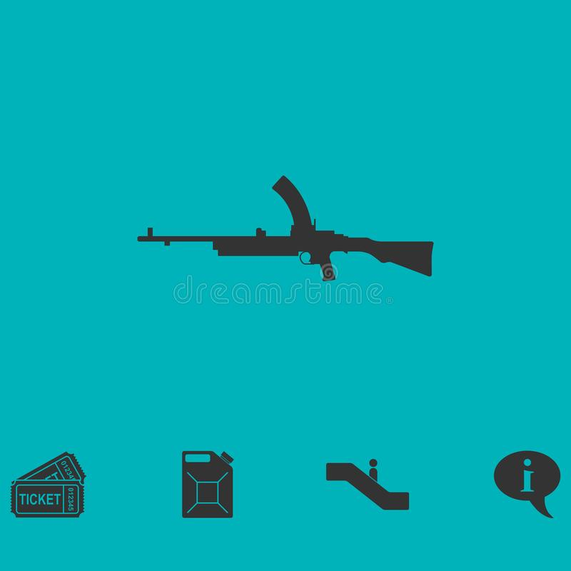 Machine gun icon flat vector illustration