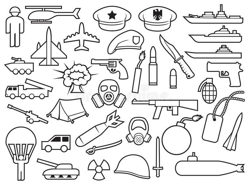 Military thin line icons royalty free illustration