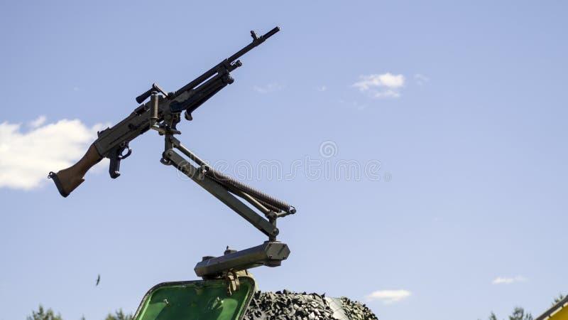 Machine gun mounted on military vehicle royalty free stock photography