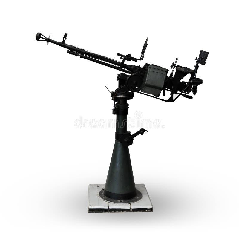 Machine gun on white