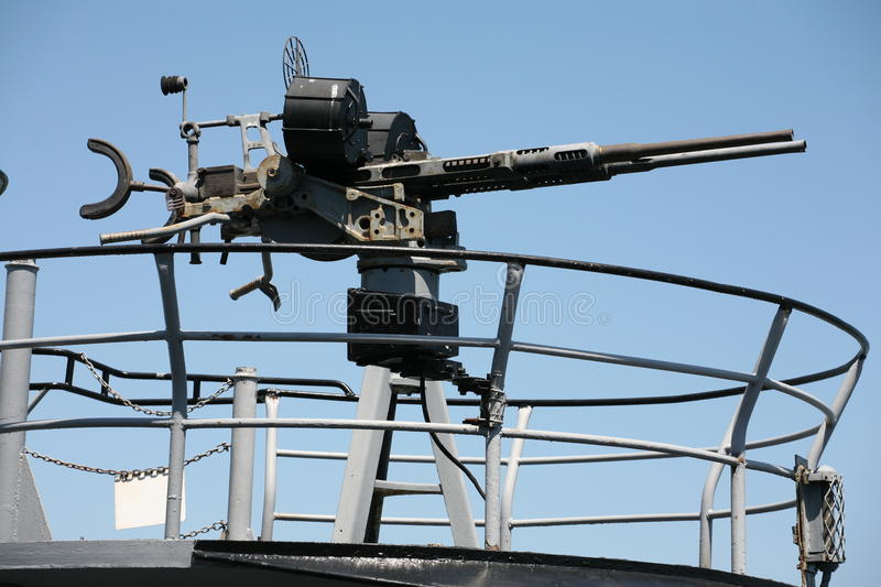 Machine guns from ship. Miter of a U.S. warship in american sea stock photo