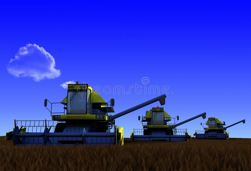 Machine for harvesting. Machines for harvesting on a background blue sky stock illustration
