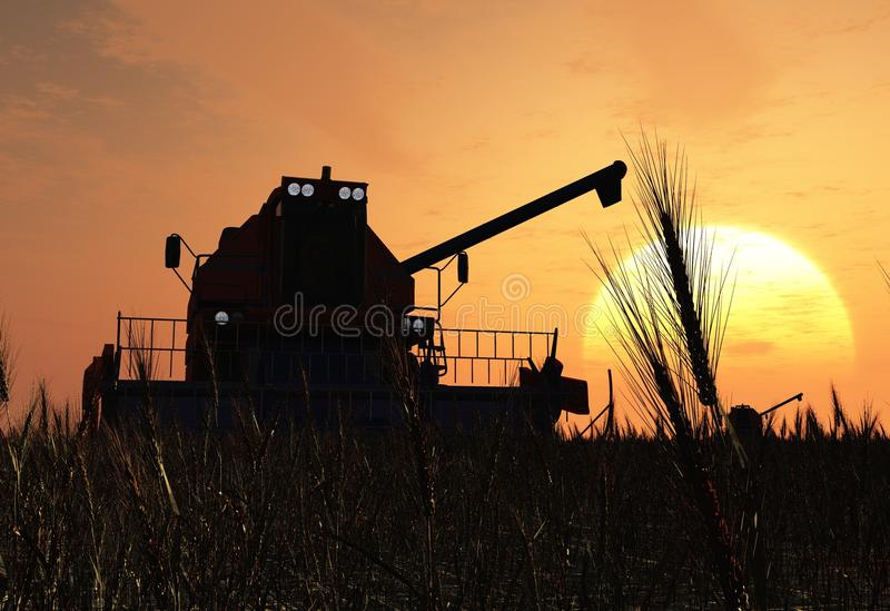 Machine for harvesting. Machines for harvesting on a background blue sky royalty free illustration