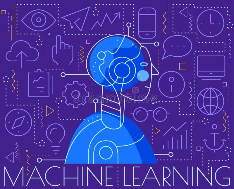 Machine het leren concept In lineaire vectorillustratie stock illustratie