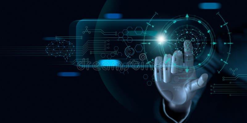 Machine het leren Hand van robot die op binaire gegevens betrekking hebben Futuristische Kunstmatige intelligentie AI stock fotografie