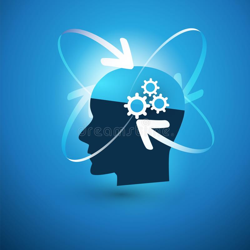 Machine het Leren, Kunstmatige intelligentie, Cloud Computing en het Concept van het Netwerkenontwerp met Pijlen en Menselijk Hoo stock illustratie