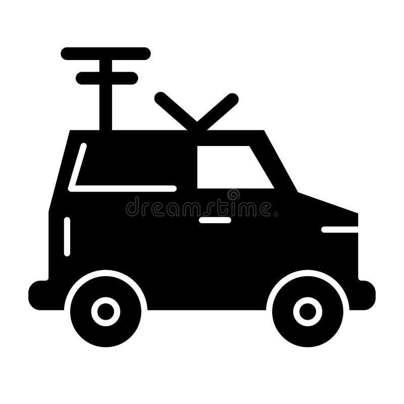 Machine, icône solide par radio portative Van avec l'illustration de vecteur d'antenne d'isolement sur le blanc Voiture avec le g illustration libre de droits