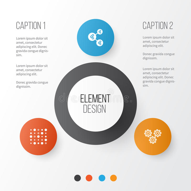 Machine Icons Set. Collection Of Variable Architecture, Algorithm Illustration, Mechanism Parts And Other Elements. Also. Machine Icons Set. Collection Of royalty free illustration