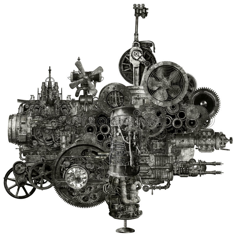 Machine industrielle de fabrication de Steampunk d'isolement images stock
