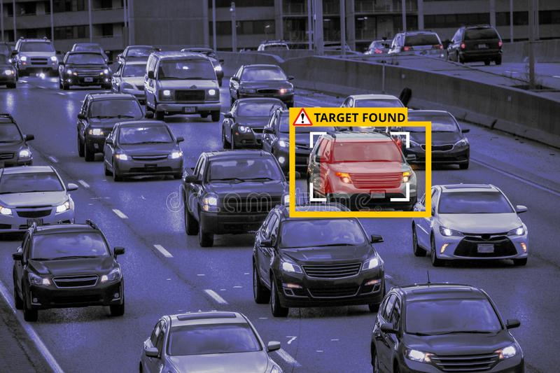 Machine Learning and AI to Identify Objects, Image recognition. Suspect Tracking, Speed Limit Radar stock photo