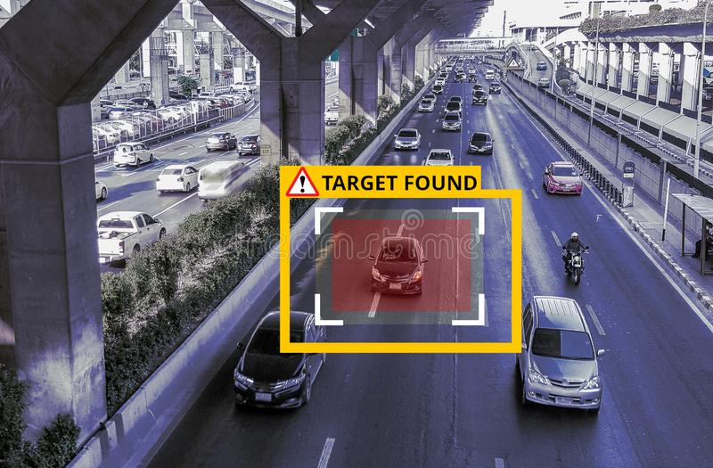 Machine Learning and AI to Identify Objects technology, Artificial intelligence. Image processing, Speed Limit stock photo