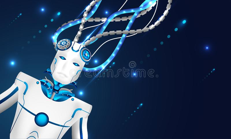 Machine learning or Artificial intelligence (AI), 3d illustration of robot connected with wires to network for mechanical brain c royalty free illustration