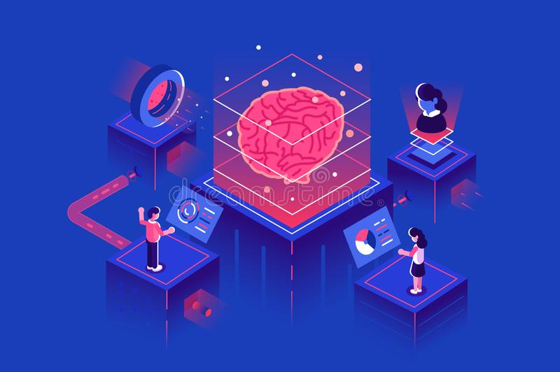 Machine learning, artificial intelligence royalty free illustration