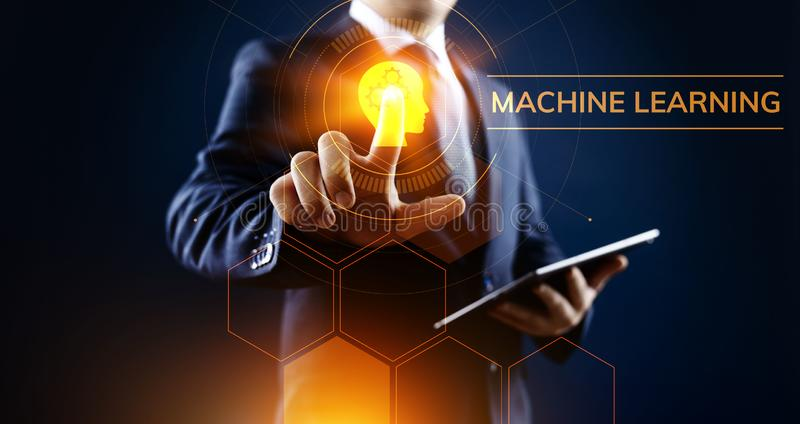 Machine learning artificial intelligence concept. Businessman pressing virtual button. Machine learning artificial intelligence concept. Businessman pressing stock image
