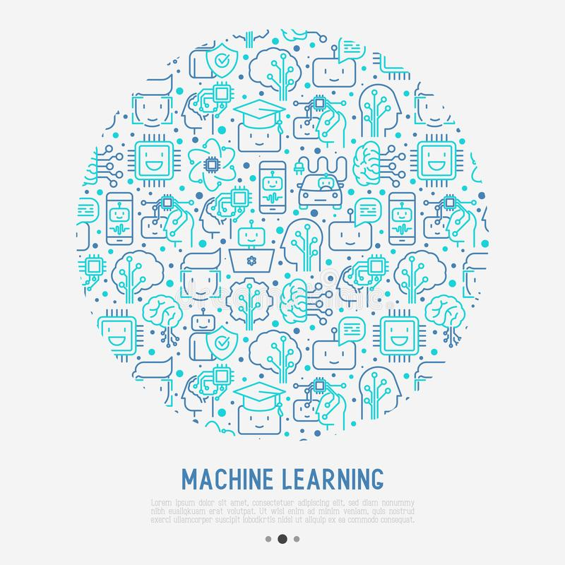 Machine learning, artificial intelligence concept royalty free illustration