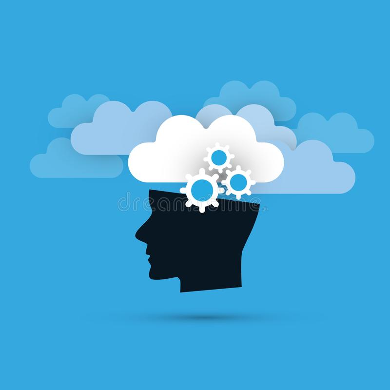 Machine Learning, Artificial Intelligence and Networks Design Concept with Clouds and Human Head stock illustration
