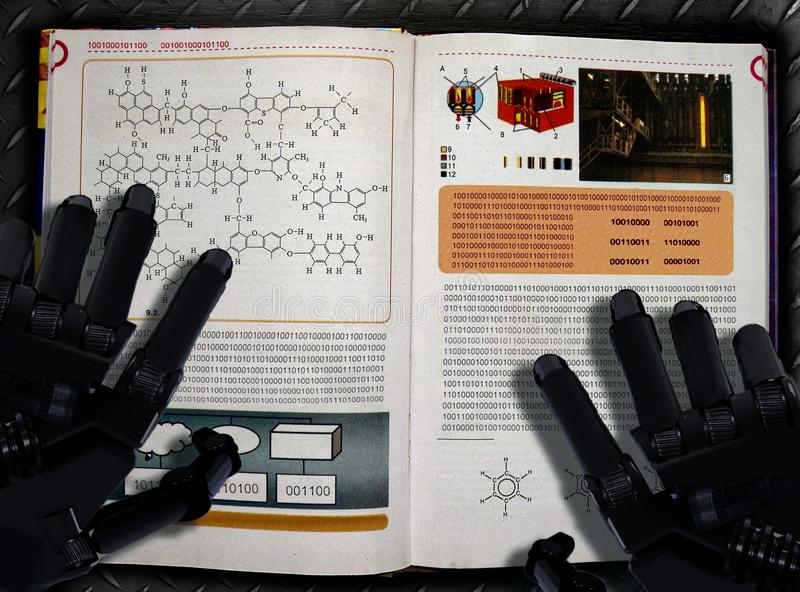Machine learning and artificial intelligence process placard. Robot hands and textbook. Machine learning placard. Robot reads textbook with binary code as stock image