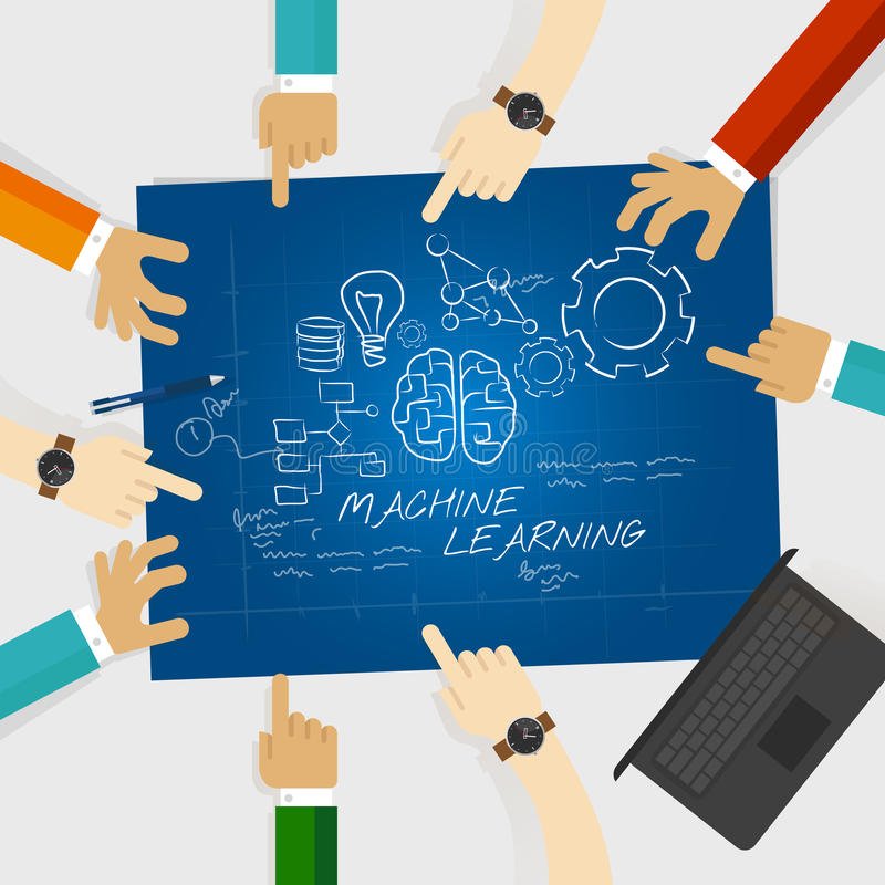 Machine learning computer science education study research university work together team work. Vector royalty free illustration