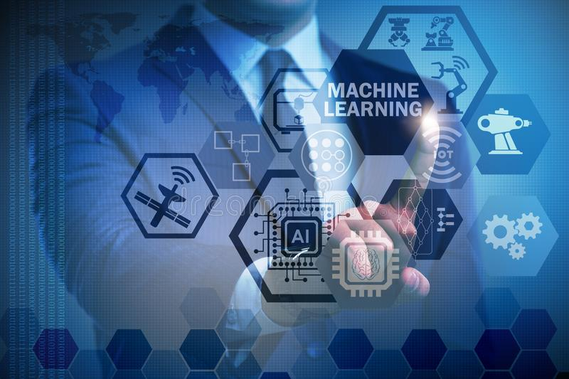 The machine learning computing concept of modern it technology. Machine learning computing concept of modern IT technology stock photography