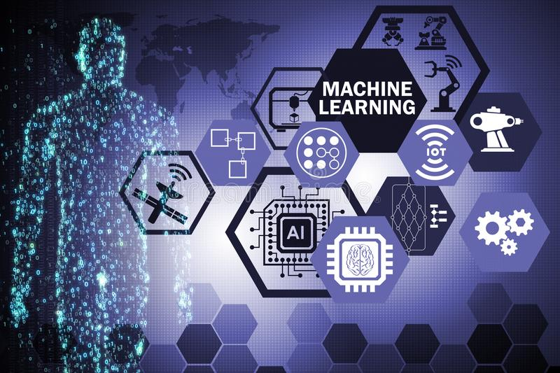 The machine learning computing concept of modern it technology. Machine learning computing concept of modern IT technology royalty free stock photos