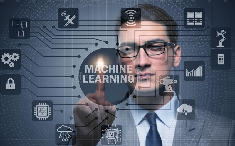 Machine learning computing concept of modern IT technology. The machine learning computing concept of modern it technology royalty free stock images