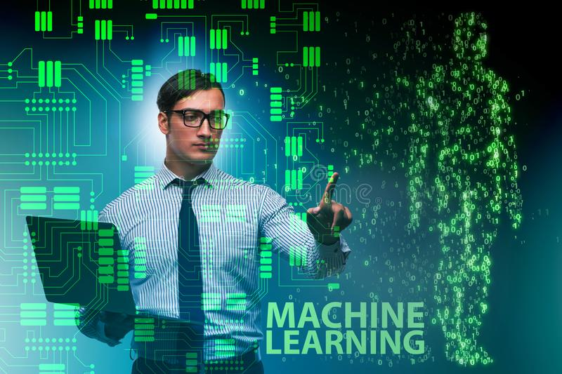 The machine learning concept as modern technology. Machine learning concept as modern technology royalty free stock image