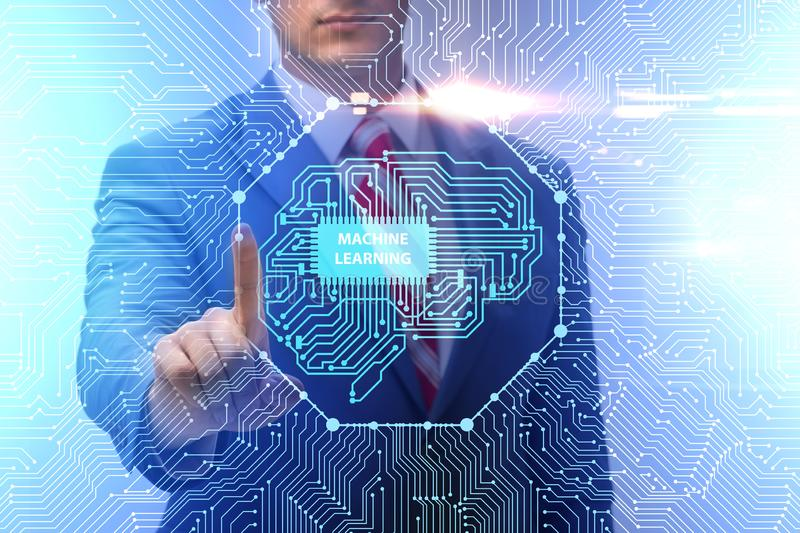 The machine learning concept as modern technology. Machine learning concept as modern technology royalty free stock photo