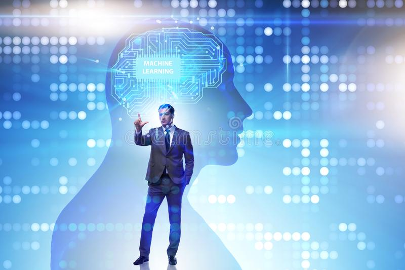 The machine learning concept as modern technology. Machine learning concept as modern technology stock photo