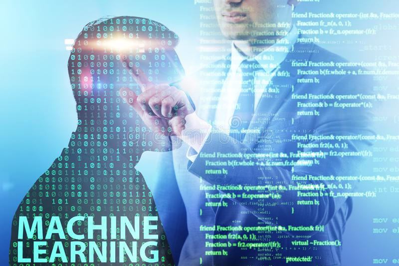 The machine learning concept as modern technology stock image