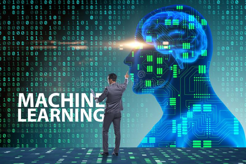 The machine learning concept as modern technology. Machine learning concept as modern technology stock photos