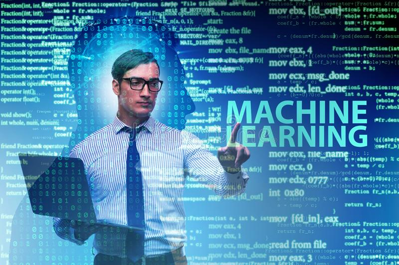 The machine learning concept as modern technology. Machine learning concept as modern technology stock images