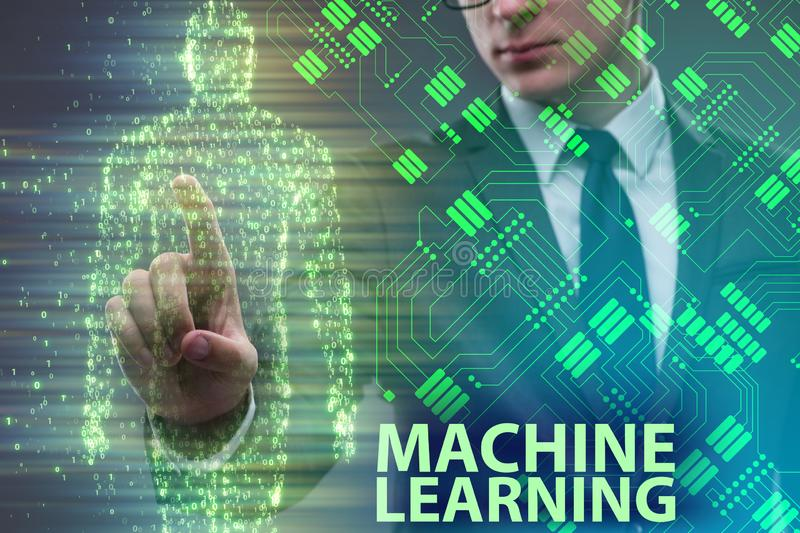 The machine learning concept as modern technology. Machine learning concept as modern technology stock image