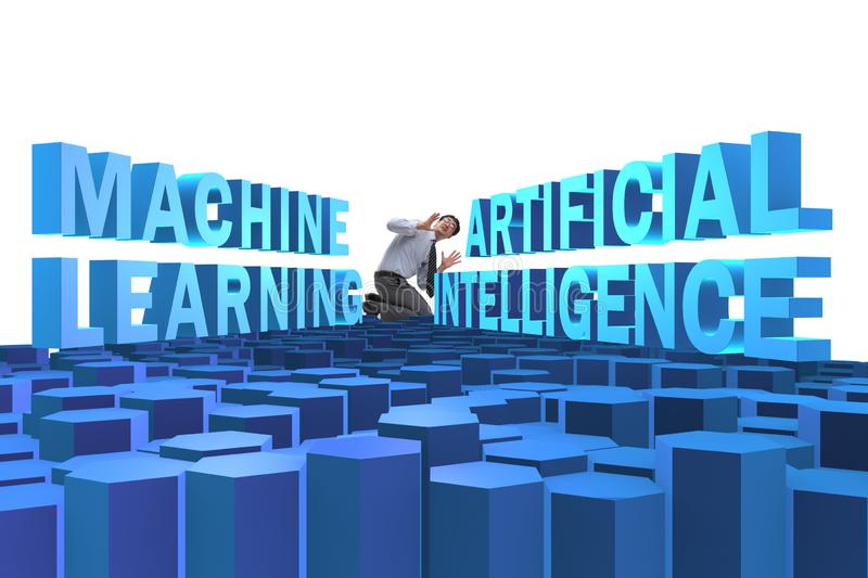 Machine learning concept with businessman. The machine learning concept with businessman royalty free stock photo