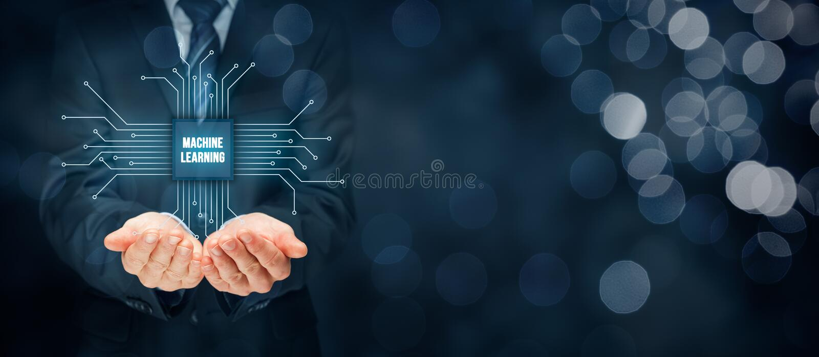 Machine learning concept. Machine learning data analysis concept. Businessman or programmer with abstract symbol of a chip with text machine learning connected stock images