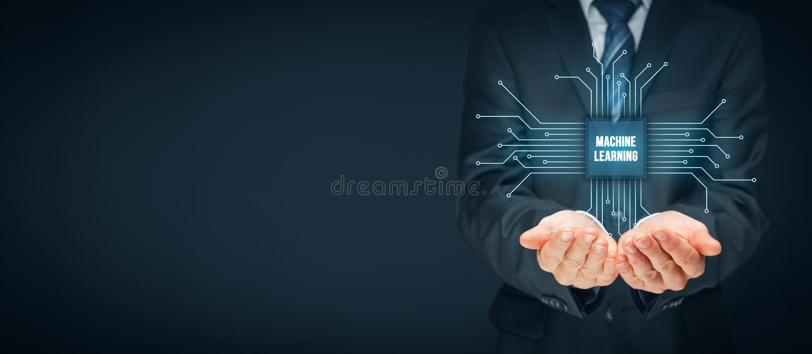 Machine learning concept. Machine learning data analysis concept. Businessman or programmer with abstract symbol of a chip with text machine learning connected royalty free stock photography