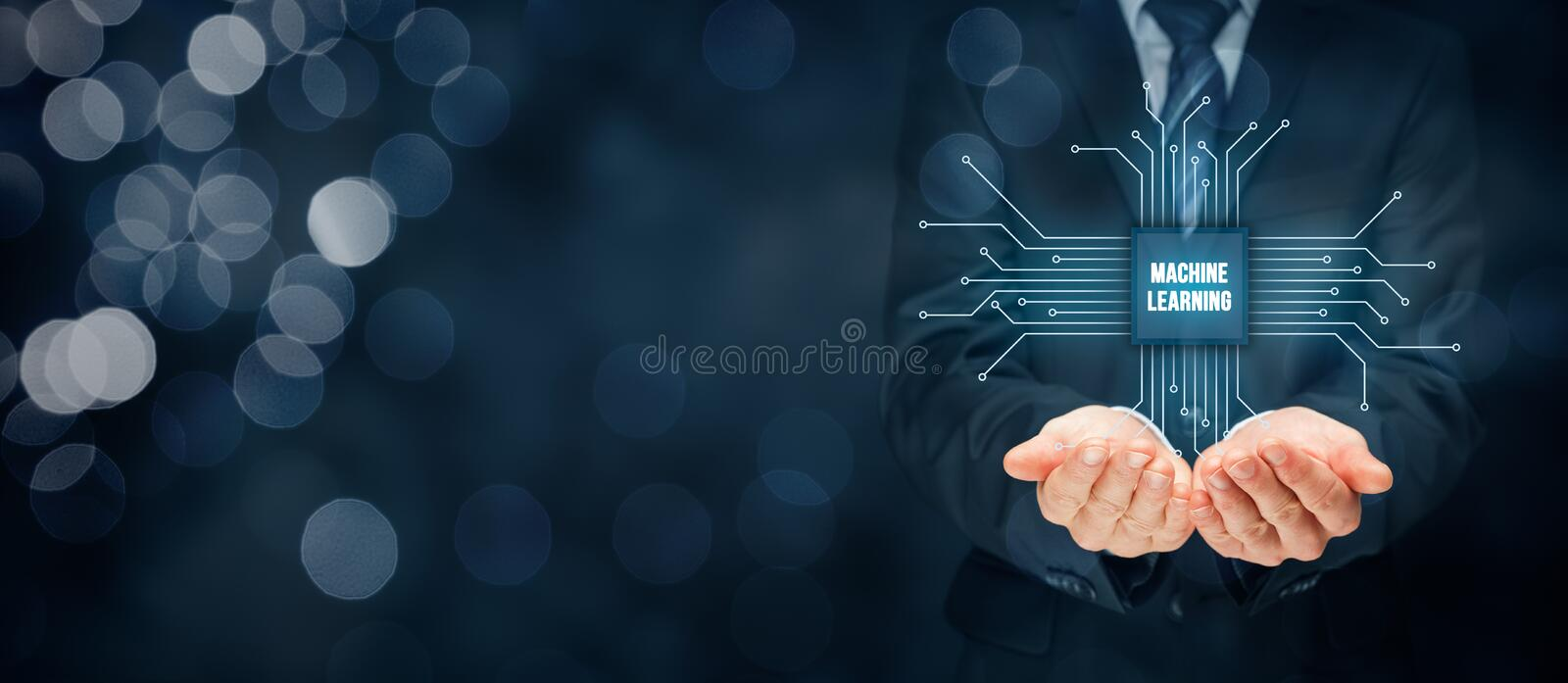 Machine learning concept. Machine learning data analytics concept. Businessman or programmer click on abstract symbol of a chip with text machine learning royalty free stock photography