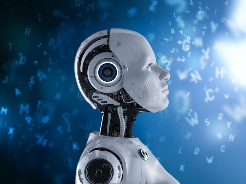 Machine learning concept. With 3d rendering female robot learning or machine learning with alphabets stock images