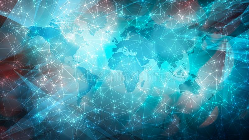 Machine learning digital world dots and wires connected on world map. Connected dots with lines and graphic world map, creative abstract background. Global stock photo