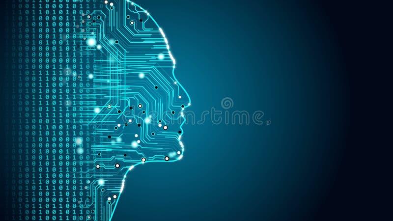 Machine learning future AI tech, human fast digital computing, robot revolution. Stock photo royalty free illustration